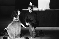 THE DUCHESS OF MALFI by John Webster design and direction: Philip Prowse lighting: Gerry Jenkinson ~Eleanor Bron (The Duchess of Malfi), Ian McKellen (Bosola)Lyttelton Theatre, National Theatre (NT),...