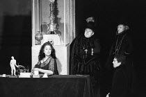 THE DUCHESS OF MALFI by John Webster design and direction: Philip Prowse lighting: Gerry Jenkinson ~Eleanor Bron (The Duchess of Malfi) with l-r: Roy Kinnear (Castruchio), Peter Needham (Forobosco), G...
