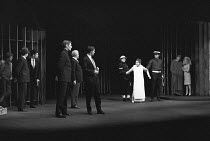 MEASURE FOR MEASURE by Shakespeare set design: Patrick Roberston costumes: Rosemary Vercoe lighting: Geoffrey Mersereau director: John Neville assisted by Michael Rudman   front left: John Neville (A...