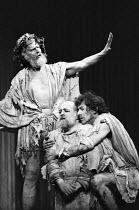 KING LEAR by Shakespeare design: Alan Barlow & Brenda Harthill Moores lighting: Mark Pritchard director: David William ~l-r: Robert Eddison (King Lear), Ronald Radd (Gloucester), Ian McKellen (Edgar)~...