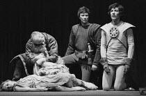 KING LEAR by Shakespeare design: Alan Barlow & Brenda Harthill Moores lighting: Mark Pritchard director: David William ~final scene, l-r: Sharon Duce (Cordelia), John Woodvine (Kent), Robert Eddison (...
