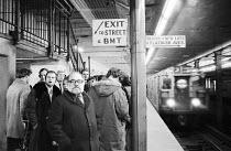 awaiting a Subway train to the Brooklyn Academy of Music (BAM)   visible, facing camera, l-r: David William, Juan Moreno, John Woodvine, Sharon Duce, Ronald Radd, Robert Eddison The Actors Company, N...