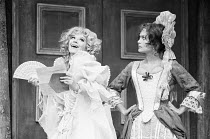 THE PROVOK'D WIFE by Sir John Vanbrugh design: Alan Barratt director: Frederick Proud  l-r: Fenella Fielding (Lady Fanciful), Alexandra Bastedo Greenwich Theatre, London SE10 14/06/1973 (c) Donald Co...