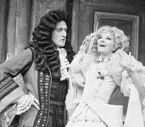THE PROVOK'D WIFE by Sir John Vanbrugh design: Alan Barratt director: Frederick Proud  Jerome Willis (Sir John Brute), Fenella Fielding (Lady Fanciful) Greenwich Theatre, London SE10 14/06/1973 (c) D...