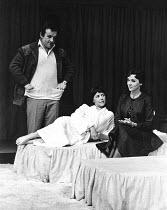OLD TIMES by Harold Pinter set design & lighting: John Bury  costumes: Beatrice Dawson director: Peter Hall   l-r: Colin Blakely (Deeley), Dorothy Tutin (Kate), Vivien Merchant (Anna) ** Lo-res uncor...