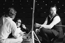 OLD TIMES by Harold Pinter set design & lighting: John Bury  costumes: Beatrice Dawson director: Peter Hall   Harold Pinter and Peter Hall during a break in filming the stage production for televisio...