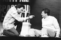 THE NORMAL HEART by Larry Kramer design: Geoff Rose lighting: Gerry Jenkinson director: David Hayman  l-r: Tom Hulce (Ned Weeks), Paul Jesson (Felix Turner) Royal Court Theatre production / transferr...