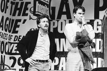 THE NORMAL HEART by Larry Kramer design: Geoff Rose lighting: Gerry Jenkinson director: David Hayman  l-r: Martin Sheen (Ned Weeks), John Terry (Bruce Niles) Royal Court Theatre, London SW1 20/03/198...