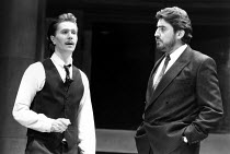 SERIOUS MONEY A City Comedy by Caryl Churchill lyrics: Ian Dury music: Micky Gallagher & Chas Jankel design: Peter Hartwell lighting: Rick Fisher director: Max Stafford-Clark  l-r: Gary Oldman (Grime...