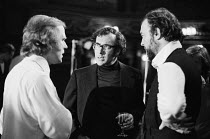 OLD TIMES by Harold Pinter set design & lighting: John Bury costumes: Beatrice Dawson director: Peter Hall  centre: Harold Pinter and right: Peter Hall during break in filming the stage production fo...