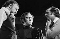 OLD TIMES by Harold Pinter set design & lighting: John Bury costumes: Beatrice Dawson director: Peter Hall  left: Peter Hall and centre: Harold Pinter during break in filming the stage production for...