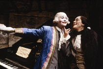 MOZART AND SALIERI by Alexander Pushkin translated by Lore Brunner designed & directed by Manfred Karge   Tilda Swinton (as Wolfgang Amadeus Mozart), Lore Brunner (as Antonio Salieri) Almeida Theatre...