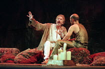 ANTONY AND CLEOPATRA by Shakespeare set design: Tim Hatley costumes: David Belugou lighting: Mark Henderson director: Sean Mathias  l-r: Alan Rickman (Mark Antony), Finbar Lynch (Domitius Enobarbus)...