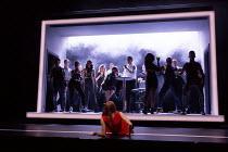COMPANY music & lyrics: Stephen Sondheim book: George Furth design: Bunny Christie lighting: Neil Austin choreography: Liam Steel director: Marianne Elliott foreground: Rosalie Craig (Bobbie) seated c...