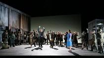 JENUFA by Janacek conductor: Mark Wigglesworth set design: Charles Edwards costumes: Jon Morrell lighting: Adam Silverman director: David Alden   Act 1: front left, hands in the air: Nicky Spence (Ste...