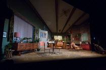 TRUE WEST by Sam Shepard design: Jon Bausor lighting: Joshua Carr director: Matthew Dunster <br> full stage, empty set, interior, USA, American Vaudeville Theatre, London WC2 04/12/2018 (c) Donald Coo...