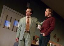 TRUE WEST by Sam Shepard design: Jon Bausor lighting: Joshua Carr director: Matthew Dunster <br>l-r: Donald Sage Mackay (Saul Kimmer), Johnny Flynn (Lee)Vaudeville Theatre, London WC2 04/12/2018 (c) D...