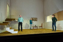 THE CANE by Mark Ravenhill design: Chloe Lamford lighting: Natasha Chivers director: Vicky Featherstone <br> l-r: Alun Armstrong (Edward), Maggie Steed (Maureen), Nicola Walker (Anna)Jerwood Theatre D...