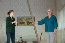 THE CANE by Mark Ravenhill design: Chloe Lamford lighting: Natasha Chivers director: Vicky Featherstone <br> l-r: Nicola Walker (Anna), Maggie Steed (Maureen)Jerwood Theatre Downstairs / Royal Court T...