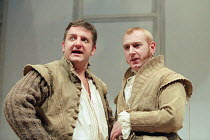 ROSENCRANTZ AND GUILDENSTERN ARE DEAD by Tom Stoppard design: Lez Brotherston lighting: Howard Harrison director: Matthew Francis <br> l-r: Simon Russell Beale (Guildenstern), Adrian Scarborough (Ros...