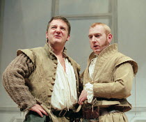 ROSENCRANTZ AND GUILDENSTERN ARE DEAD by Tom Stoppard design: Lez Brotherston lighting: Howard Harrison director: Matthew Francis <br>~l-r: Simon Russell Beale (Guildenstern), Adrian Scarborough (Rose...