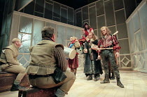 ROSENCRANTZ AND GUILDENSTERN ARE DEAD by Tom Stoppard design: Lez Brotherston lighting: Howard Harrison director: Matthew Francis <br>~entrance of the Player King & Players: Alan Howard (The Player Ki...