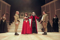ROSENCRANTZ AND GUILDENSTERN ARE DEAD by Tom Stoppard design: Lez Brotherston lighting: Howard Harrison director: Matthew Francis <br>~centre, l-r: Adrian Scarborough (Rosencrantz), Lois Baxter (Gertr...