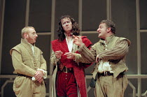 ROSENCRANTZ AND GUILDENSTERN ARE DEAD by Tom Stoppard design: Lez Brotherston lighting: Howard Harrison director: Matthew Francis <br>~l-r: Adrian Scarborough (Rosencrantz), Alan Howard (The Player Ki...