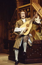THE DOUBLE DEALER by William Congreve design: Tanya Moiseiwitsch lighting: David Hersey director: Peter Wood <br> Nicky Henson (Brisk) Olivier Theatre, National Theatre (NT), London SE1 27/09/1978 (...