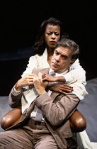 AFTER THE FALL by Arthur Miller set design: Hayden Griffin costumes: Tanya McCallin lighting: Rory Dempster director: Michael Blakemore <br> James Laurenson (Quentin), Josette Simon (Maggie) Cottesloe...
