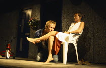 BEAUTIFUL THING by Jonathan Harvey design: Robin Don lighting: Johanna Town director: Hettie Macdonald <br>~Rhys Ifans (Tony), Amelda Brown (Sandra)~a Bush Theatre 1993 production / Duke of York's The...