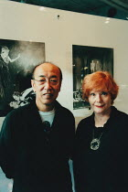 Japanese theatre stage director Yukio Ninagawa (1935-2016) photographed with British theatre producer and actress Thelma Holt (1932-) at the Saitama Arts Theater, Tokyo in 1999 <br> (c) Donald Cooper/...