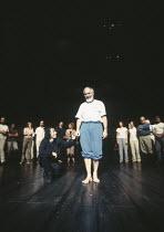 KING LEAR by Shakespeare set design: Yukio Horio costumes: Lily Komine lighting: Tamotsu Harada fights: Masahiro Kunii movement: Suketaro Hanayagi director: Yukio Ninagawa <br> practising the curtain...