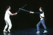 KING LEAR by Shakespeare set design: Yukio Horio costumes: Lily Komine lighting: Tamotsu Harada fights: Masahiro Kunii movement: Suketaro Hanayagi director: Yukio Ninagawa <br> fight rehearsal - l-r:...