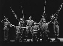 PRIVATES ON PARADE by Peter Nichols design: Michael Annals lighting: Robert Bryan director: Michael Blakemore <br>centre, l-r: Ben Cross (Flight-Sergeant Kevin Cartwright), (standing) Joe Melia (Corpo...