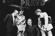 PRAVDA written & directed by David Hare set design: Hayden Griffin costumes: Lindy Hemming <br>l-r: Anthony Hopkins (Lambert le Roux), Christopher Baines (D P P Payne), Peter Blythe (Michael Quince, M...
