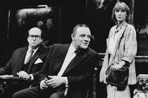 PRAVDA written & directed by David Hare set design: Hayden Griffin costumes: Lindy Hemming <br>l-r: Olivier Pierre (Lord Silk), Anthony Hopkins (Lambert le Roux), Kate Buffery (Rebecca Foley)Olivier T...