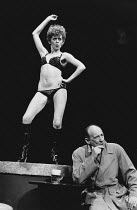 STRIPWELL by Howard Barker design: Bob Ringwood lighting: Jack Raby director: Chris Parr <br>Patricia Quinn (Babs), Michael Hordern (Graham Stripwell)Open Space Theatre, London W1 14/10/1975 (c) Donal...