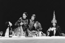 TOP GIRLS by Caryl Churchill design: Anabel Temple lighting: Robin Myerscough-Walker director: Max Stafford-Clark <br> l-r: Sarah Lam (Lady Nijo), Deborah Findlay (Isabella Bird), Lesley Sharp (Dull G...