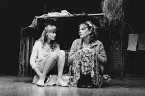 TOP GIRLS by Caryl Churchill design: Anabel Temple lighting: Robin Myerscough-Walker director: Max Stafford-Clark <br> l-r: Beth Goddard (Kit / Shona), Lesley Sharp (Angie) Royal Court Theatre, London...