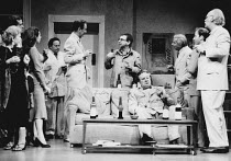TALES FROM HOLLYWOOD by Christopher Hampton design: Alison Chitty lighting: Stephen Wentworth director: Peter Gill <br> standing centre: Ian McDiarmid (Bertolt Brecht) Olivier Theatre, National Theatr...