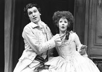 THE RIVALS by Sheridan design: Frank Conway lighting: Brian Harris director: Patrick Mason <br> Tim Woodward (Captain Absolute), Nina Thomas (Lydia Languish) Greenwich Theatre, London SE10 18/12/1980...