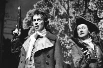 THE RIVALS by Sheridan set design: John Gunter costumes: Bruce Snyder lighting: Robert Bryan director: Peter Wood <br>~l-r: Tim Curry (Bob Acres, Niall Buggy (Sir Lucius O'Trigger) Olivier Theatre, Na...