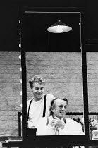 A LIFE IN THE THEATRE by David Mamet design: Hayden Griffin director: Bill Bryden <br> l-r: Samuel West (John), Denholm Elliott (Robert) Theatre Royal Haymarket, London SW1 03/10/1989 (c) Donald Coope...