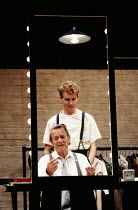 A LIFE IN THE THEATRE by David Mamet design: Hayden Griffin director: Bill Bryden <br> l-r: Denholm Elliott (Robert), Samuel West (John) Theatre Royal Haymarket, London SW1 03/10/1989 (c) Donald Coop...