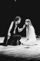 HAMLET by Shakespeare design: Ralph Koltai lighting: Mark Pritchard director: John Barton <br> Michael Pennington (Hamlet), Carol Royle (Ophelia) Royal Shakespeare Company (RSC), Royal Shakespeare The...