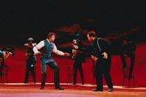 OKLAHOMA! music: Richard Rodgers book & lyrics: Oscar Hammerstein II design: Anthony Ward choreography: Susan Stroman lighting: David Hersey director: Trevor Nunn <br> 'Dream Sequence', l-r: Hugh Jack...