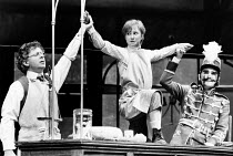 ON THE RAZZLE by Tom Stoppard adapted from Johann Nestroy design: Carl Toms lighting: Robert Bryan director: Peter Wood <br> l-r: Ray Brooks (Weinberl), Felicity Kendal (Christopher), Dinsdale Landen...