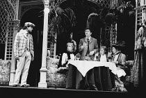 ON THE RAZZLE by Tom Stoppard adapted from Johann Nestroy design: Carl Toms lighting: Robert Bryan director: Peter Wood <br>l-r: Michael Kitchen (Melchior), Deborah Norton (Frau Fischer), Ray Brooks (...