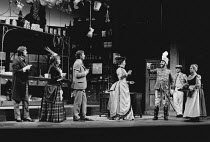 ON THE RAZZLE by Tom Stoppard adapted from Johann Nestroy design: Carl Toms lighting: Robert Bryan director: Peter Wood <br> from 4th left: Rosemary McHale (Madame Knorr), Dinsdale Landen (Zangler), M...
